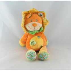 Doudou Lion Orange Jaune hochet feuille Nicotoy