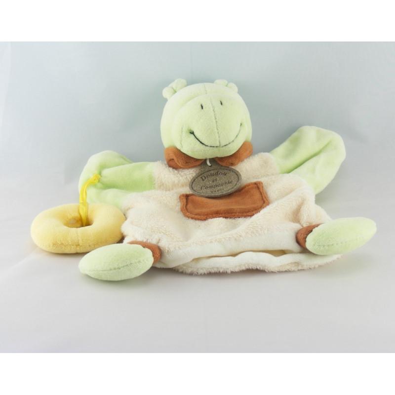 Doudou plat marionnette l'hippo Hippopotame vert Doudou et Compagnie