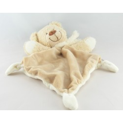 Doudou plat ours beige blanc TEX BABY NEUF