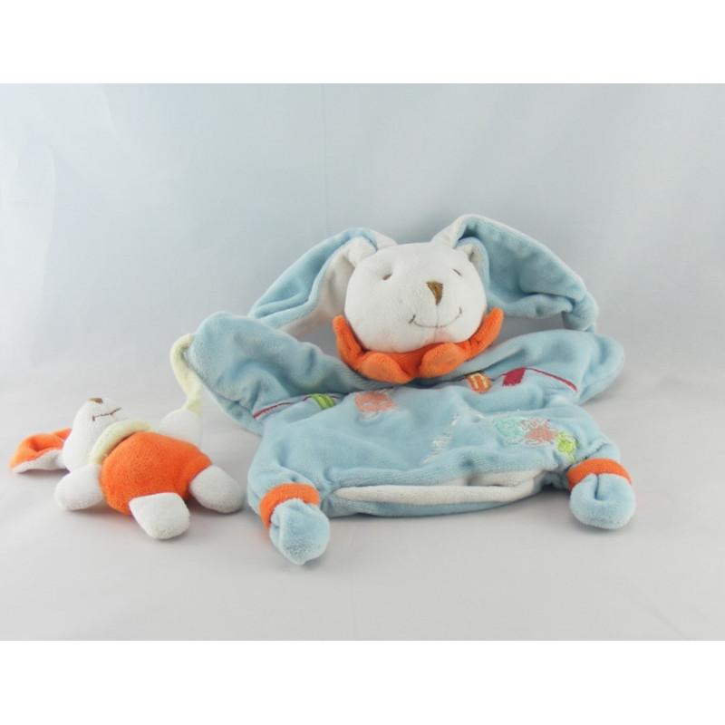 Doudou et compagnie plat marionnette lapin Eliot bleu bébé