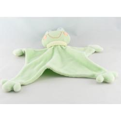 Doudou plat bébé à bord lutin vert ventouses KING BEAR
