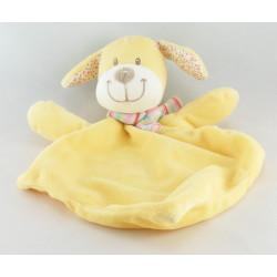 Doudou plat chien jaune beige écharpe NICOTOY