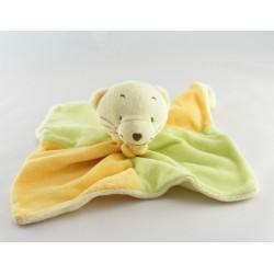 Doudou plat ours vert jaune orange JJA