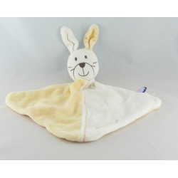 Doudou plat lapin jaune blanc SUCRE D'ORGE