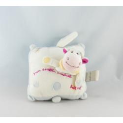 Doudou vache blanche tache rose bleu BABY NAT
