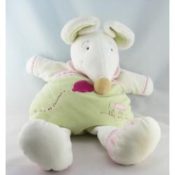 Doudou et compagnie souris Barbotine vert rose maison bébé