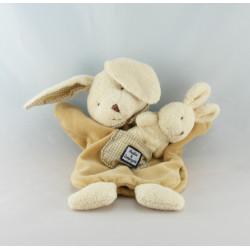 Doudou plat marionnette lapin beige avec bébé DOUDOU ET COMPAGNIE