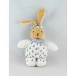 Doudou lapin patapouf blanc fleurs bleu KALOO