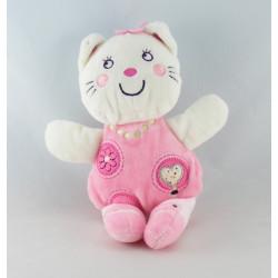 Doudou chat blanc fleurs rose coeur NICOTOY