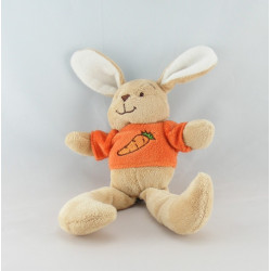 Doudou lapin beige tee shirt orange carotte COMPTINE