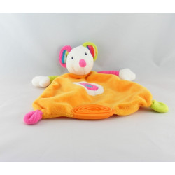 Doudou plat souris orange multicolore dentition BABYSUN NEUF