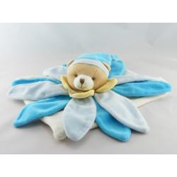 Doudou et compagnie collector ours plat fleur pétale bleu et blanc
