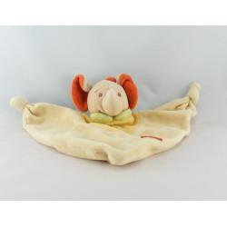 Doudou semi plat éléphant beige rouge jaune vert JOLLYBABY