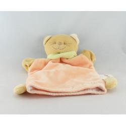 Doudou plat orange Chat Patou foulard vert Bengy