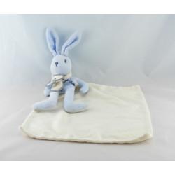 Doudou lapin bleu mouchoir SUCRE D'ORGE