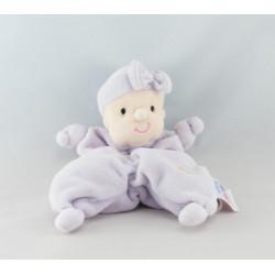 Doudou musical bébé rose mauve avec lapin blanc MY LOVELY BABY