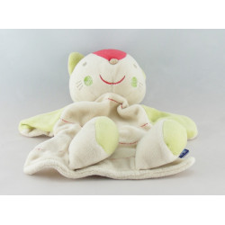 Doudou plat chat orange blanc Sucre d'orge