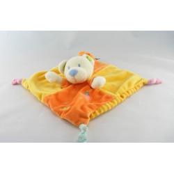 Doudou plat carré ours orange jaune MOTS D'ENFANTS