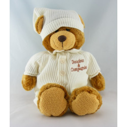 Doudou ours brun marron pyjama blanc Doudou et Compagnie