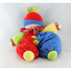 Doudou lutin arlequin clown rouge bonnet bleu COROLLE
