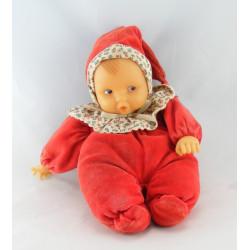 Doudou bébé poupée rouge col fleurs COROLLE
