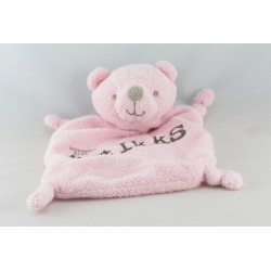 Doudou plat ours rose gris IKKS