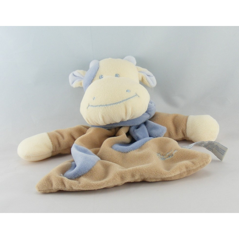 Doudou plat vache marron beige taches bleues TIAMO COLLECTION