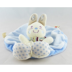 Doudou plat rond lapin blanc bleu fleur VETIR