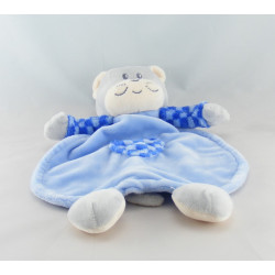 Doudou chat gris bleu coeur AJENA