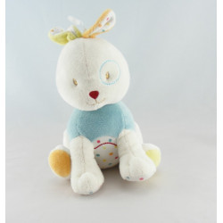 Doudou lapin bleu rayure couture rouge SUCRE D'ORGE