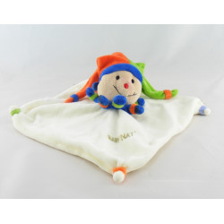 Doudou plat clown arlequin bleu vert orange BABY NAT