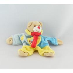 Mini Doudou attache tétine ours arlequin rouge jaune BABY NAT