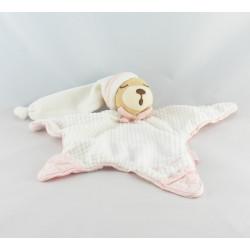 Doudou Plat Etoile Ours endormi blanc rose Kaloo lot de 2