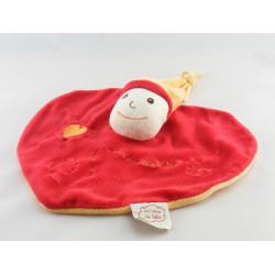 Doudou plat lutin rouge orange coeur Un Rêve de Bébé