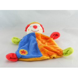 Doudou plat clown rouge orange bleu vert  BABY CLUB