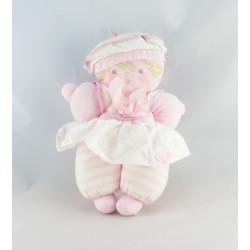 Doudou ancienne poupée robe rose col marin COROLLE VINTAGE