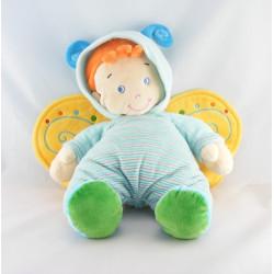 Doudou garçon déguisé en papillon vert bleu NICOTOY