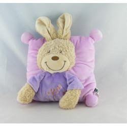 Doudou plat lapin rose mauve violet mouton TEX BABY