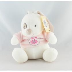 Doudou lapin blanc rose Luminou