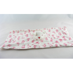 Doudou plat rectangle souris blanc imprimé chat bleus