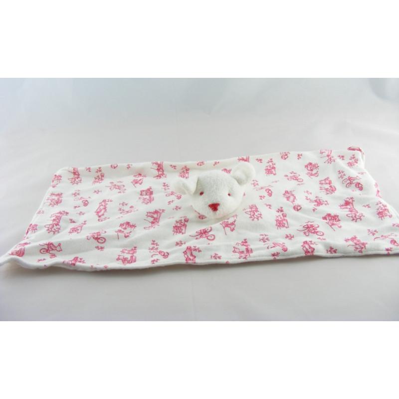Doudou plat rectangle souris blanc imprimé chat bleus