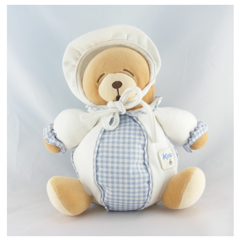 Doudou boule ours endormi blanc vichy bleu Kaloo