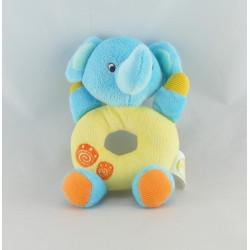 Doudou plat éléphant bleu vert BABY SMILE