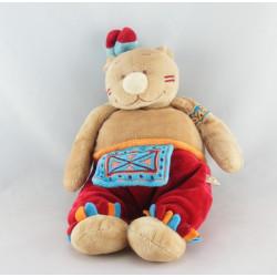 Doudou plat ours Pinto indien rouge marron tipi NOUKIE'S