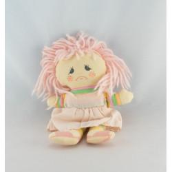 Doudou poupée chiffon rose jaune nattes ZEEMAN