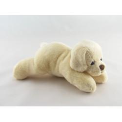 Doudou chiot chien blanc couché MAX ET SAX