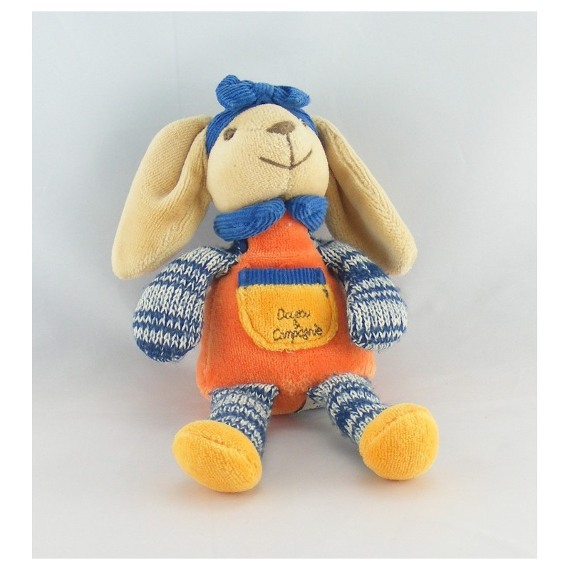 Doudou et compagnie lapin orange bleu laine noeud