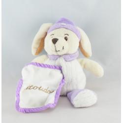 Doudou chien lapin beige blanc mouchoir Natoudou EVEIL ET TENDRESSE