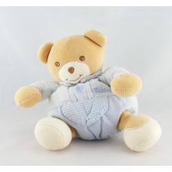Doudou plat ours beige bleu vichy TAKINOU
