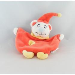 Doudou semi plat ours souris rose vert bonnet orange fleur AUCHAN